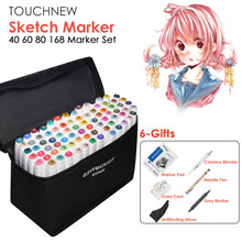 TOUCHNEW 40/60/80/168 Color Animation Marker Pen Set Drawing Sketch Touch Art Markers Alcohol Based Art Supplies With 6 Gifts(China)