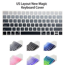 US English Layout Silicone Wireless Keyboard Cover for Apple New Magic Keyboard Release in 2015 MLA22LL/A Keypad Skin Stickers