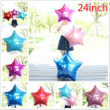 10pcs/lot 24'' Inch Foil Star Balloon - 9 Colors To Choose - Helium Metallic Wedding birthday party decoration mylar ballon