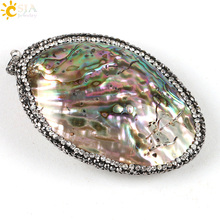 CSJA 1pc Suspension Necklace Pendant New Zealand Natural Abalone Shell Charm Rhinestone Beads DIY Making Jewelry Findings E215