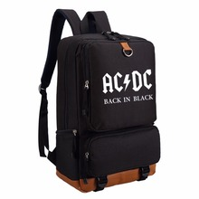 WISHOT AC DC band back in black Canvas bag backpack for teenagers Men women's Student School Bag travel bag hip hop fashion(China)