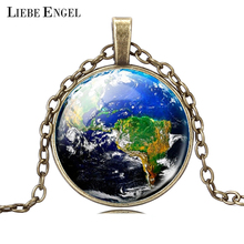 LIEBE ENGEL Glass Cabochon Pendant Necklace Fashion Earth Jewelry Vintage Summer Style Silver&Bronze Statement Chain Necklace(China)