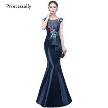 Robe De Soriee Mother of The Bride Dress Navy Blue Mermaid Long Gown Embroidery Flower Beading Satin Elegant Vestido De Madrinha(China)