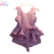 HOT! girls dress new 2016 girls clothes summer fashion children's vests suit 3~7 years old children clothing for girl grid suit