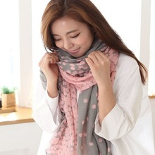 2014 Korea new winter scarf Gradient Polka Dot Cotton voile scarves factory outlets
