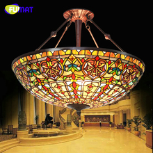 FUMAT European Style Baroque Restaurant Tiffany Country Light Classic Hotel Project Light Living Room Stained Glass Pendant Lamp