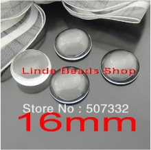 Free shipping! 200pcs 16mm clear domed magnifying round glass cabochons,photo jewelry pendant inserts GT006(China)