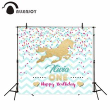 Allenjoy photography backdrop Blue Ribbon Golden Party Unicorn Birthday background newborn original design for photo studio(China)