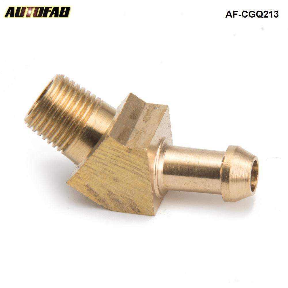 """AUTOFAB - Turbocharger Compressor Brass Boost Nipple Hose Fitting For Garrett T2 T258 T3 Turbo 1/8""""Male NPT 45 Degree AF-CGQ213"""
