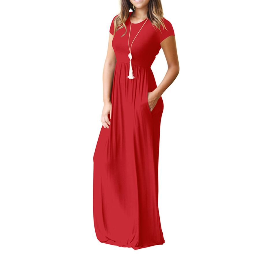 Hot Sale Floor Length Dress Women O Neck Casual Pockets Short Sleeve Loose Party Dress Vestido Longo De Festa 33
