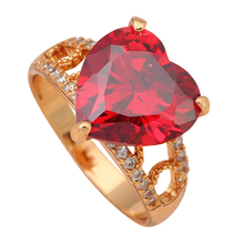 Heart Exaggerated ring Gold color Health Jewelry Nickel & Lead Free Garnet Zircon Element Ring Sz #6.5 #7 #7.5 JR1902A(China)