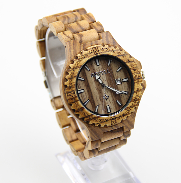 Relojes 2016 Mens Bewell Wooden Watch Zebra Wood Watch Gift for Men&amp;Women<br>