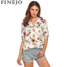 FINEJO Women Floral Printed Vintage Cotton Blouses Shirts 3/4 Sleeve Femme Blouse Fashion Ladies Lady Tee Shirts For Woman Tops(China)