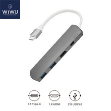 WIWU Type C Hub with HDMI 4 in 1 USB 3.0 Adapter for MacBook Hub USB Computer Peripherals USB Type C HDMI for MacBook Pro Air(China)