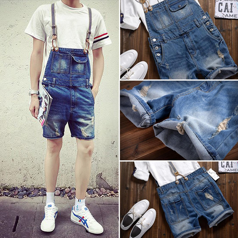 Suspenders Jeans male jumpsuits Male denim overalls men shorts Trousers brand pants summer bib knee length hole ripped jeansОдежда и ак�е��уары<br><br><br>Aliexpress