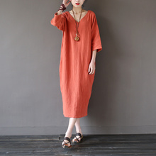 Solid Orange Blue 100% Cotton V-neck Women Long Dress Vintage Plus size Loose Casual Summer Dress Linen Robe Longue Femme A025(China)