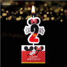1pc Birthday Candle Mickey Minnie Mouse Candle 2 Anniversary Cake Numbers Age Candle Party Supplies Decoration