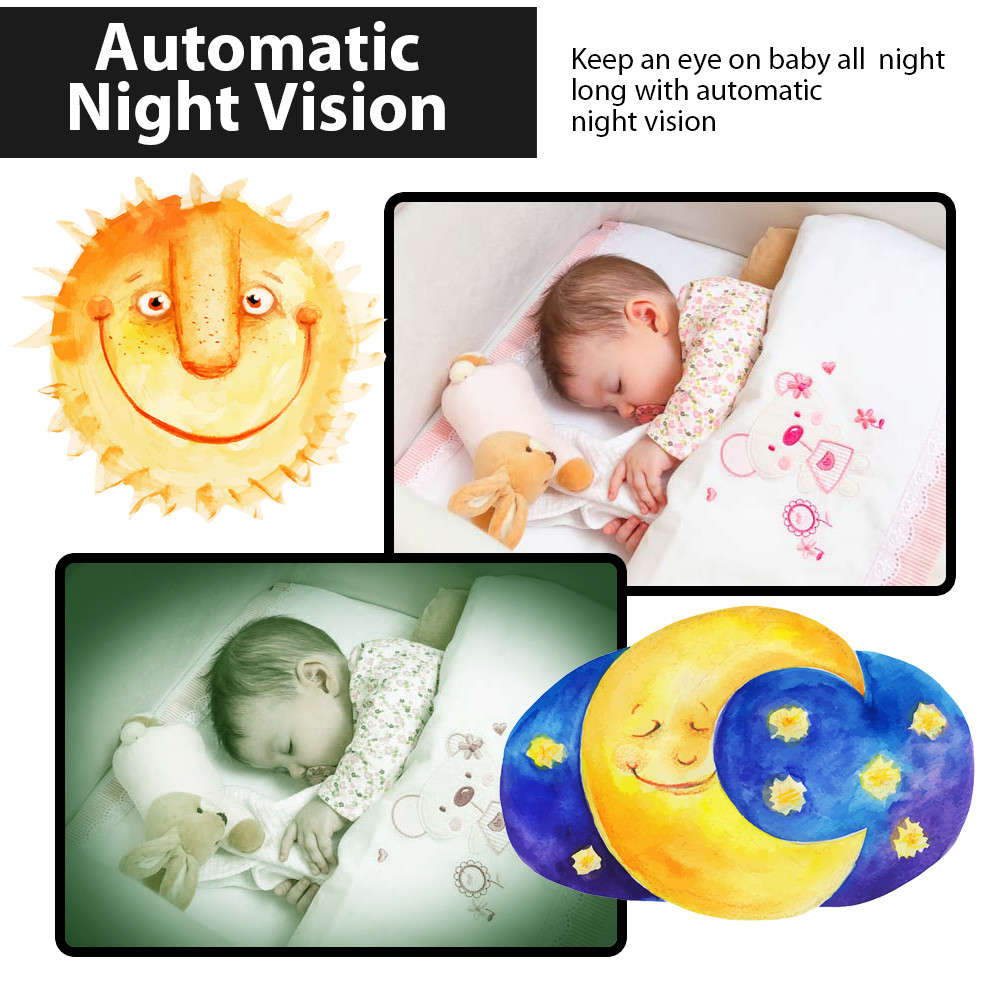 2.0 Color LCD Video Wireless Baby Monitor 2 Way Talk Night Vision IR (7)
