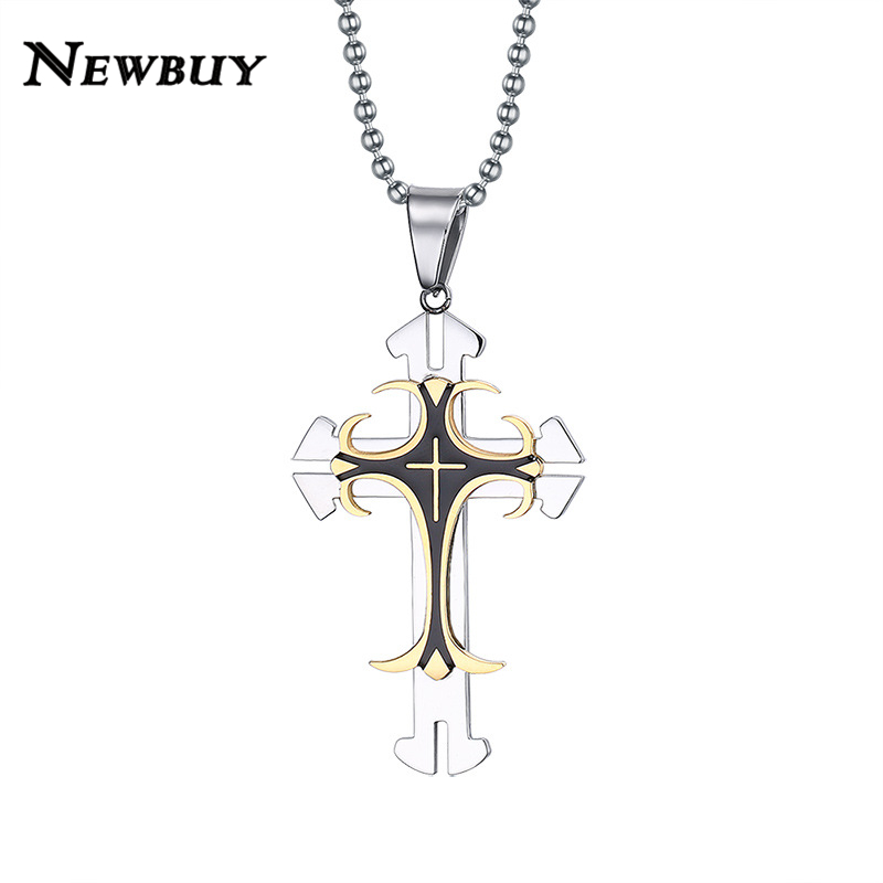 NEWBUY Big Cross Vintage Men Jewelry Hot Sale Fashion Gold-color Cross Pendant Necklace For Men Women Wholesale(China (Mainland))