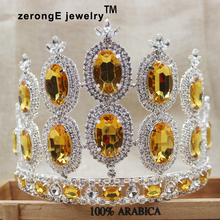 zerongE jewelry 5.2inch tall pageant crystal tiara crown yellow color party /masquerade queen crown tiara for hair decoration