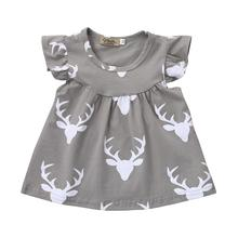 Baby Girls Deers Print Princess Party Toddler Newborn Dress Tops Clothes Drop Shipping #Z30(China)