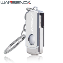 WANSENDA Swivel USB Flash Drive Stainless Steel Pen Drive 4GB 8GB 16GB 32GB 64GB Fast Speed Pendrive USB Stick with Key Chain