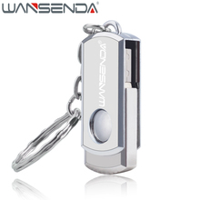 WANSENDA Swivel USB Flash Drive Stainless Steel Pen Drive 4GB 8GB 16GB 32GB 64GB Fast Speed Pendrive USB Stick with Key Chain(China)