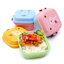 2 Layer Cartoon Lunch Food Fruit Storage Container Portable Plastic Lunch Microwave Cutlery Set Children Gift box