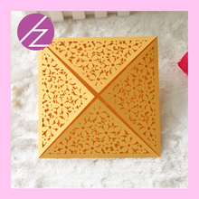 12pcs/lot Latest carving flowers wedding card various 23colors four fold designs patterns laser cut greeting/birthday/hollow(China)