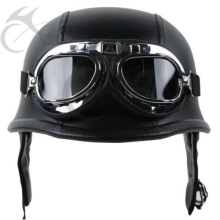 DOT German Black Leather Motorcycle Half Face Helmet Biker Pilot Goggles M L XL(China)