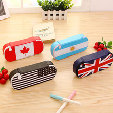 New British Wind Girl Pencil Case School Large Capacity Maple Leaf Pencil Bag Box Quality National Flag Stationery School Office