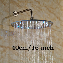 "LED Light 16"" Big Rainfall Bathroom Shower Head Wall Mount Brass Shower Arm Brushed Nickel Showerhead(China)"