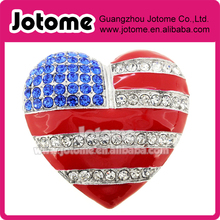 July 4th American Flag Heart Pin Brooch, Patriotic American Flag Heart Shaped Rhinestone brooch(China)