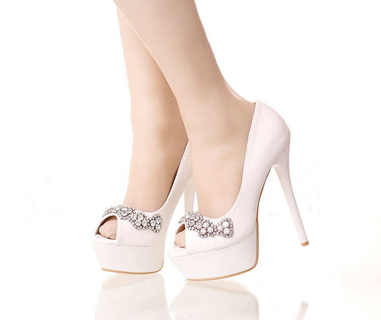 Shoes Woman White Bridal crystal diamond Shoes Fish Head waterproof fine with Super High Heel Fine with Wedding shoes Sandals<br><br>Aliexpress