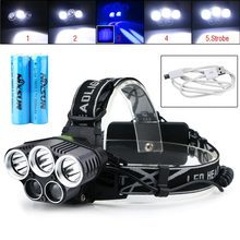 Brand New Non Battery / 2x Battery 8000LM 2XPE 3XML-T6 CREE LED Rechargeable 18650 USB Headlamp Head Light With Buckle(China)