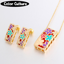 New Brand Exclusive Beautiful Geometry Color Pendant/Earrings for Women Costume Gilded Enamel Jewelry Sets Creative Gift(China)
