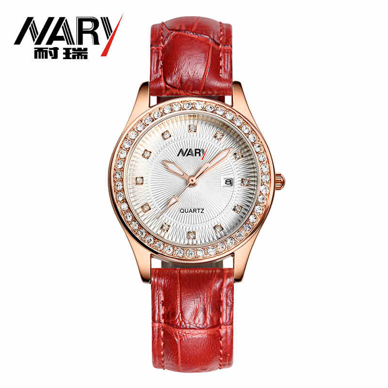 Fashion NARY Brand Women Watch Genuine Leather Strap Rhinestone Wristwatch Elegant Female Dress Quartz Watch relogio feminino<br><br>Aliexpress