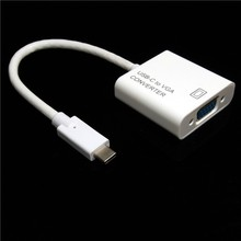 2015 High quality USB3.1 Type-C Male to VGA Female Cable Adapter USB-C HDTV Connector For Macbook ,laptop,TV(China)