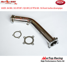 Mertop Race 3'' SS304  EXHAUST TURBO DOWNPIPE  O2 SENSOR FOR  08-12 FOR AUDI A4 A5 Q5 B8 2.0T