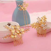 Luxury Gold Flower Leaves Bridal Hair Combs Hairjewelry Austria Rhinestone Bride wedding women Hairpiece Haircombs 3 piece suit