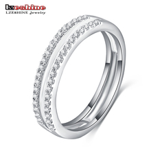 LZESHINE Latest Design Circle Finger Rings Silver Color Micro Inlay AAA Cubic Zircon Wedding Rings for Women CRI0170-B