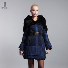 BASIC-EDITIONS Winter Cotton Coat With Rabbit Fur Shawl Embroidery Female Winter Coat Jacket D11027 Free shipping(China)