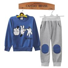Blue Mickey Children Sport Suits Baby Boys Clothes Set Kids Tracksuits Morra Finger Game Sweatshirts Trouser Suit 2 pcs Clothing