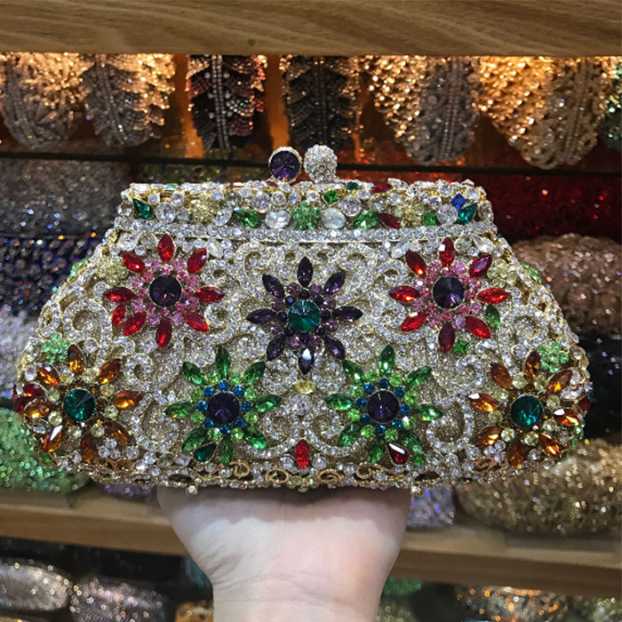 Flower Wallet Clutches Pochette Small Purse Evening-Bag Crystal Diamond Party Women Luxury title=