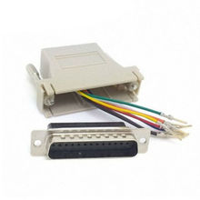 5pcs Serial Interface D-Sub 25pin Male Extender To Lan Cat5 Cat5e RJ45 Ethernet Female Adapter Beige Color