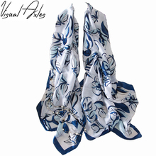 [Visual Axles] Pure Silk Scarf Luxury Brand Women Long Print Floral Real Silk Scarves 180*90cm