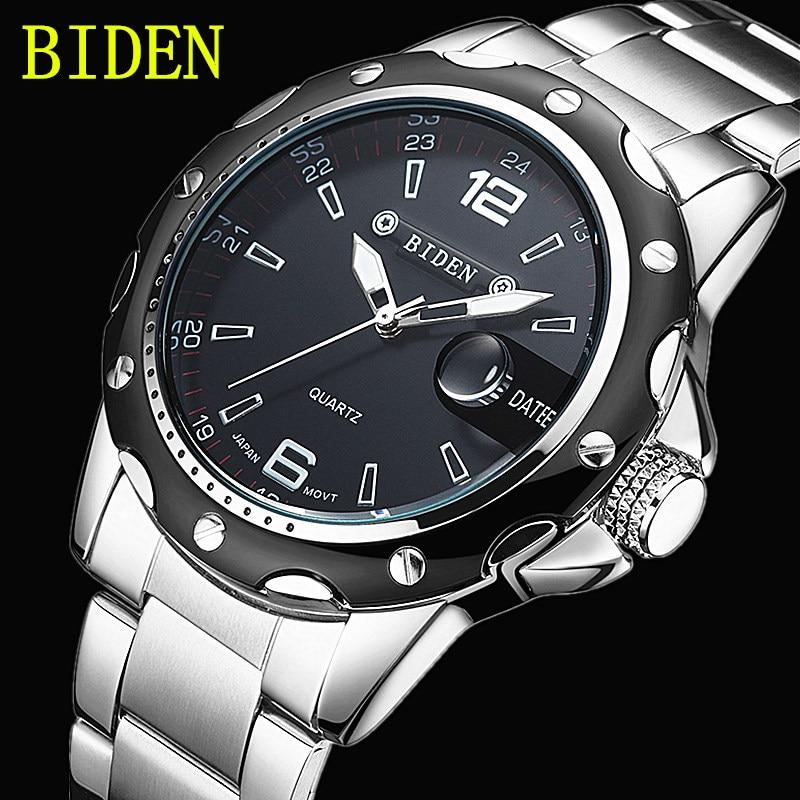 BIDEN brand watches men quartz business fashion casual watch full steel date 30m waterproof wristwatches sports military watch<br><br>Aliexpress