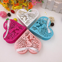 "50pcs 4x4x1.3"" Flower Laser Cut Wedding Favor Box candy box gift box wedding decoration mariage party supplies"