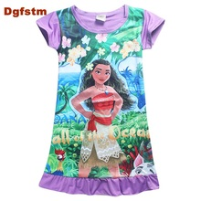 DGFSTM Purple/Pink Moana Dress Children Clothing Summer Dresses Girls Baby Pajamas Costume Princess Nightgown Vestidos Infantis(China)