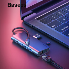 Baseus 8in1 usb Тип C адаптер концентратор для MacBook Pro 3 USB 3,0 порты К и разъёмы/4 к HDMI/RJ45/SD TF Card Reader/USB C сплиттер OTG HUB(China)